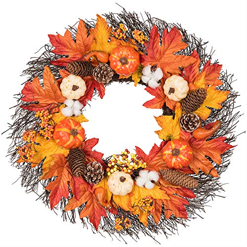 Lvydec Maple Leaves Fall Wreath – 20″ Autumn Door Wreath with Pumpkin, Pinecone, Cotton Boll, Berries, Harvest Wreath for Fall and Thanksgiving Decoration