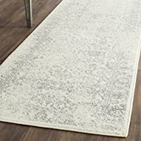 Safavieh Adirondack Collection ADR109C Ivory and Silver Oriental Vintage Distressed Runner (26 x 12)