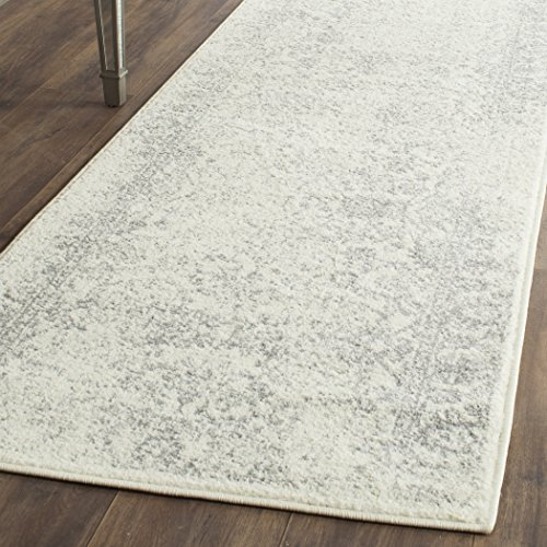 Safavieh Adirondack Collection ADR109C Ivory and Silver Oriental Vintage Distressed Runner (2'6 x 22') (Rug 22' Safavieh Runner)