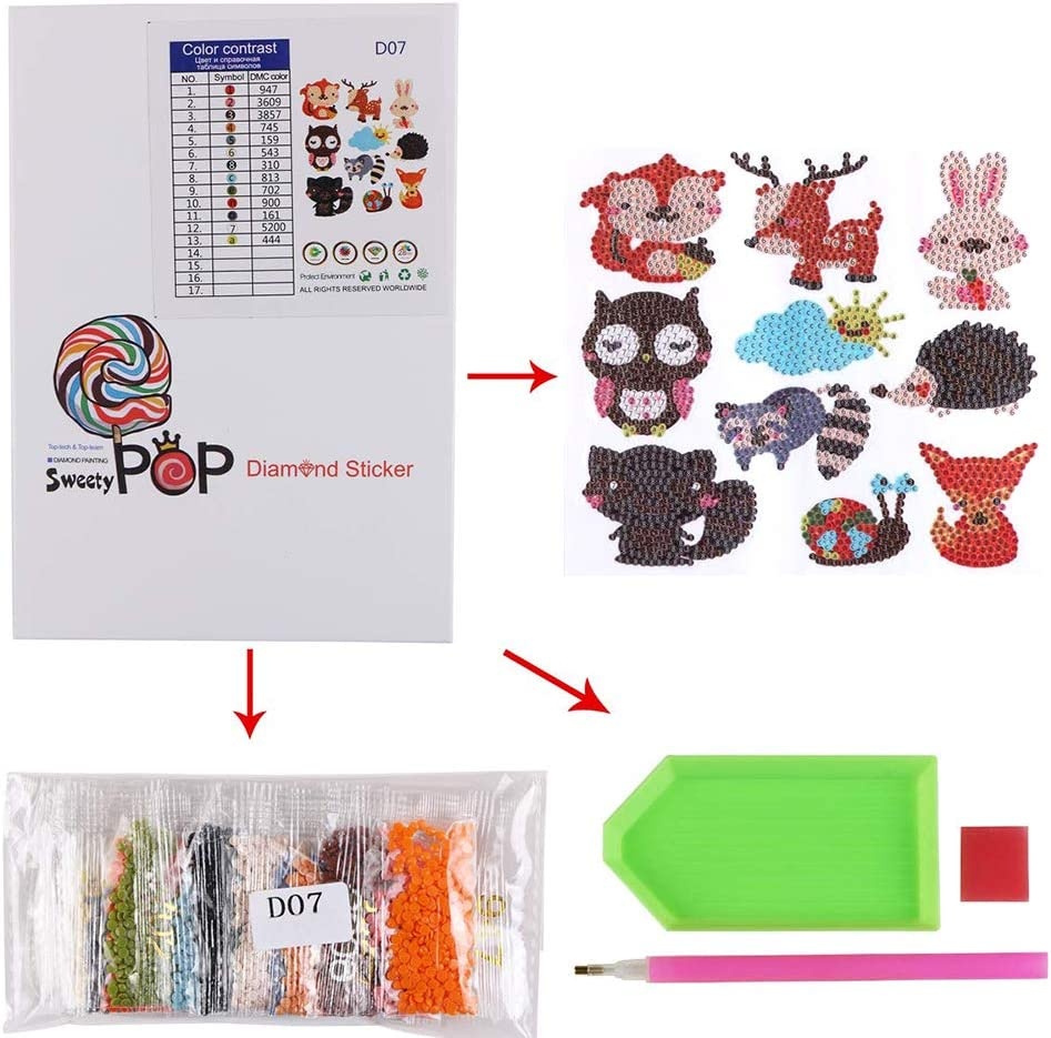 Amacoam Diamond Painting Kits for Kids Adults 5D Diamond Stickers DIY Animal Diamond Stickers Handmade Mosaic Phone Sticker Arts and Crafts for Kids and Adult Beginners Crafts Making 10 Pieces