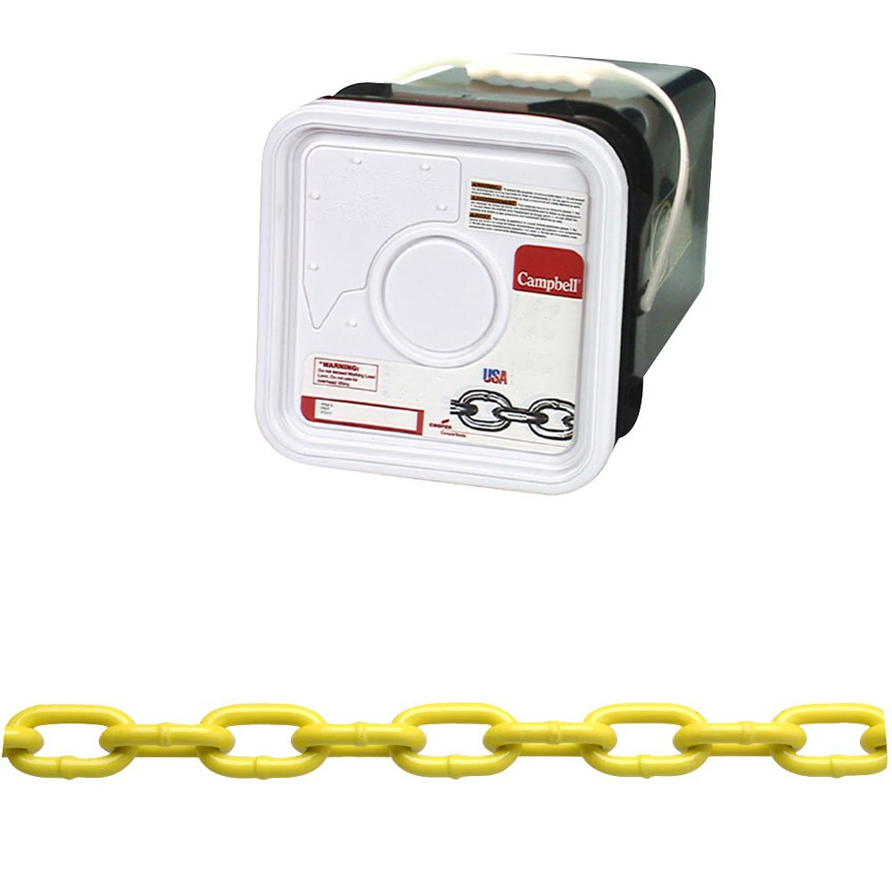Campbell PD0143426 System 3 Grade 30 Low Carbon Steel Proof Coil Chain in Square Pail, Yellow Polycoated, 1/4'' Trade, 0.26'' Diameter, 75' Length, 1300 lbs Load Capacity
