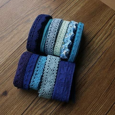 LGCD ファブリック装飾コットンかぎ編みレースリボン手作りのジュエリー技術を縫う色の綿レースの衣服の10ヤードロット (Color : Blue 10yard)
