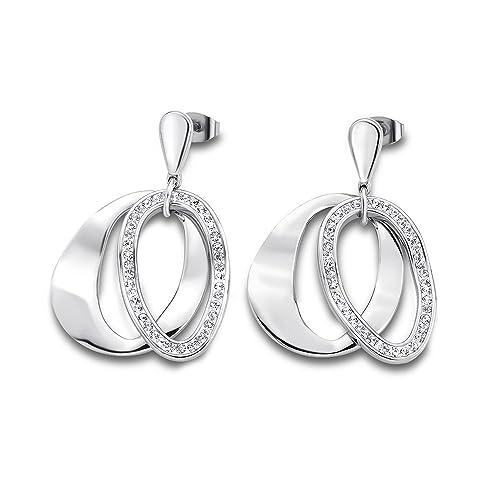 Lotus Style acero inoxidable pendientes para mujer gris piedras de Lotus Style de acero inoxidable JLS1672 - 4-1