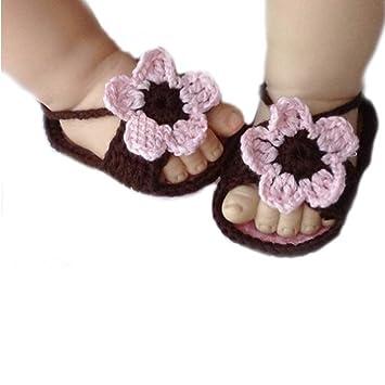 80155194cb5f1 FuzzyGreen Cute Baby Socks, Cute Baby Infant Barefoot Crochet Hand Knitting  Flowers Sandal Shoes...