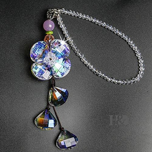 H&D Car Rearview Mirror Hanger Hanging Ornament,Crystal Suncatcher for Window (Flower)