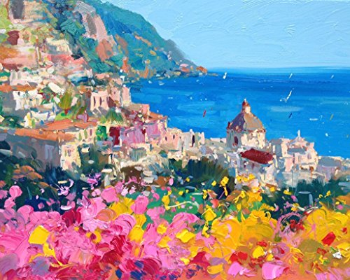 Romantic Positano Fine Art Print on Paper and Canvas (8x10 11x14 16x20 20x25 24x30 30x38) Amalfi Italy Coast Wall Art Home Decor Kitchen Living Room Bedroom Christmas Gifts for Her - Shipping Ground Days Fedex