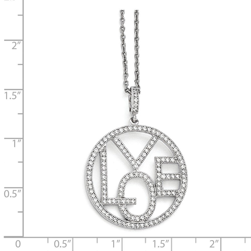 Sterling Silver CZ Brilliant Embers Round Love Necklace 37x28mm 18 Inches
