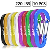 """Carabiner Clip Small Heavy Duty D Ring Keyring Key Chain Hooks Climbing Caribeaners for Camping Hiking Backpack Water Bottle Fishing Loading Capacity Over 100KG [ 6cm / 2.36"""" 10pcs ]"""
