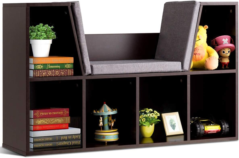 Costzon 6-Cubby Kids Bookcase w/Cushioned Reading Nook, Multi-Purpose Storage Organizer Cabinet Shelf for Children Girls & Boys Bedroom Decor Room (Espresso)