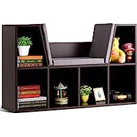 Costzon 6-Cubby Kids Bookcase w/Cushioned Reading Nook, Multi-Purpose Storage Organizer Cabinet Shelf for Children Girls…