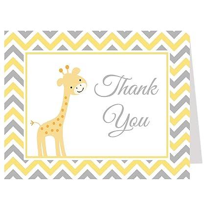 Chevron jirafa, Baby Shower, tarjetas de agradecimiento, amarillo ...