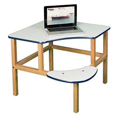 "Adventure Series 23"" Children's Corner Writing Desk Surface Color: White, Edge Trim Color: Blue: Home & Kitchen"