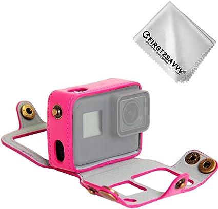 First2savvv Rosa Pu Ledertasche Für Gopro Hero7 Black Kamera
