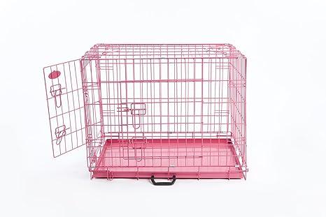 Rosa perro o cachorro Metal formación jaula Crate XL (rosa 42 ...