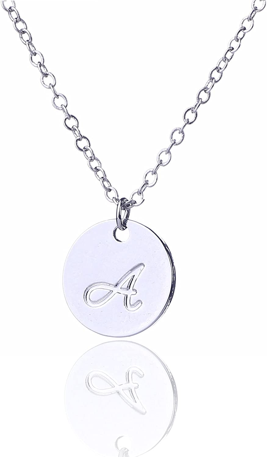 Monogram Initial Necklace Personalized Letter J Small Charm STERLING SILVER