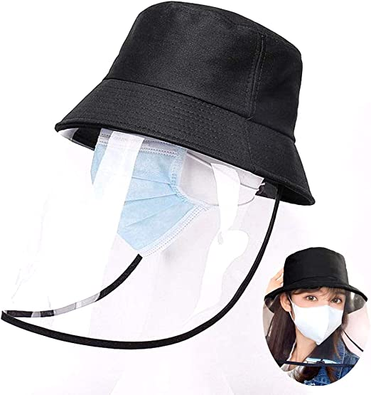 Anti-Saliva Protective Hat Anti-Spitting Full Face Cover Mask Dustproof Safety Face Shield Fishing Cap Sun Hat Removable Bucket Hat Outdoor Fisherman Hat for Men Women (Fisherman Hat)