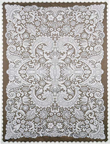 (Venetian Lace by Julianna James | Woven Tapestry Wall Art Hanging | Symmetrical Lace Pattern Venetian Filigree Artwork | 100% Cotton USA Size 69x51)