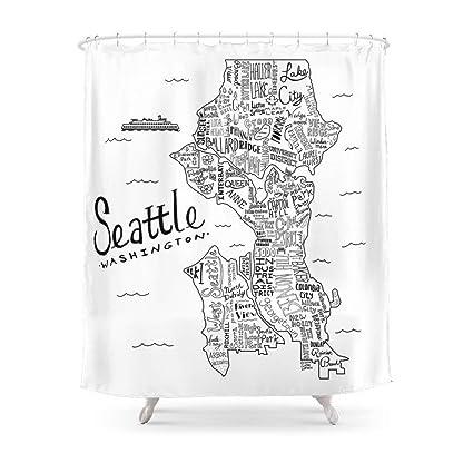 Amazon Sukuraceci Bathroom Seattle Map Shower Curtain 72 By 72