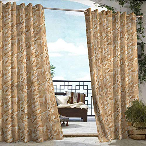 (crabee Fashions Drape Camel Color,Fractal Mosaic Stars,W84 xL84 for Front Porch Covered Patio Gazebo Dock Beach Home )
