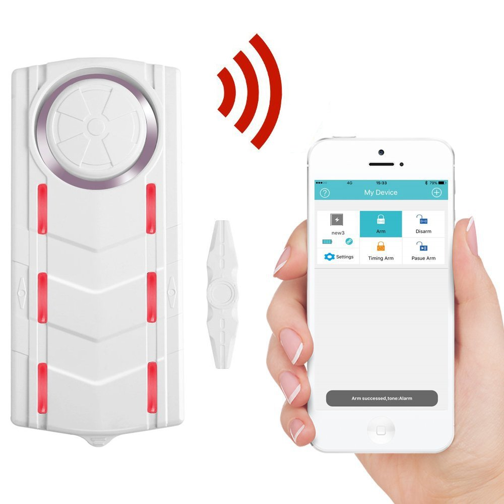 Wsdcam Wireless Bluetooth Magnetic Vibrational Window Door Alarm for Home with Phone APP, 108dB Siren Indicator Light