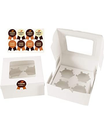Diealles 8 Pack Cupcake/Muffin Boxes with Sticker for Cupcakes