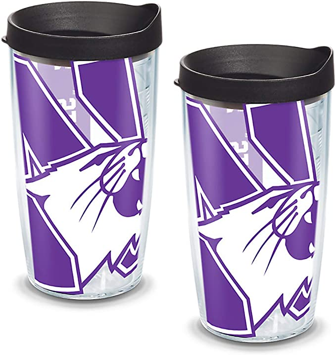 Tervis 1134532 Northwestern Wildcats Colossal Tumbler with Wrap and Black Lid 2 Pack 16oz Clear