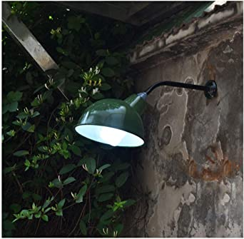 INDUSTRIE EMAILLE WANDLAMPE FABRIKLAMPE AUSLEGERLAMPE Hoflampe Grün