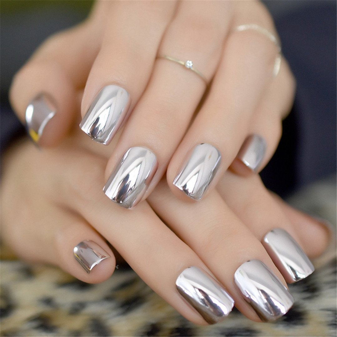 Amazon.com : Mirror Silver False Nails Point Metallic Nail Tips 24Pcs/Kit Easy For Daily Wear Light purple : Beauty