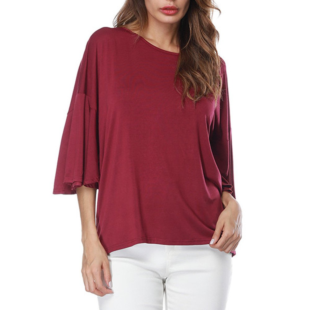 Women Ruffles Flared Half Sleeve Shierts Pure Color O-Neck Tops Loose T-Shirt Blouse