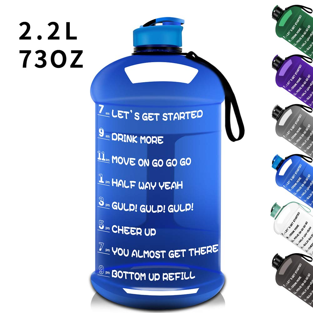 Dishwasher Safe 73OZ/2.2L Big Reusable Sports Water Bottle with Motivational Time Marker Water Jug Container Large Water Canteen BPA Free Leak-proof for Gym Fitness Athletic Outdoor Camping Hiking by TOOFEEL
