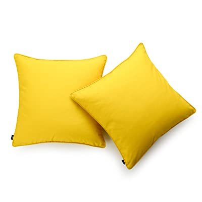 "Hofdeco Indoor Outdoor Pillow Cover ONLY, Water Resistant for Patio Lounge Sofa, Yellow White Solid, 18""x18"", Set of 2: Home & Kitchen"