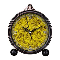 Vintage Retro Living Room Decorative Non-ticking, HD Glass Lens, Easy to Read, Quartz, Analog Large Numerals Bedside Table Desk Alarm Clock-172.Gold, Pattern, Yellow, Gold-Plated, Texture
