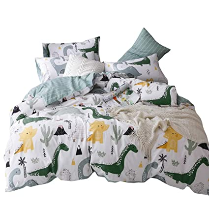 c1e6c3c1fd2e OTOB Soft Cotton Cartoon Dinosaur Bedding Sets Twin Boys Kids Duvet Cover  Blue White Teens Adults