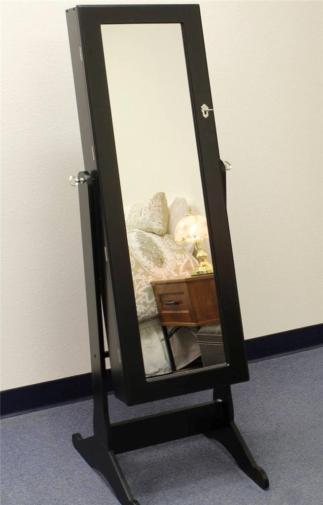 Amazon.com: Black Wood Mirrored Jewelry Armoire Cabinet Stand Mirror  Necklace Bracelet Ring: Home U0026 Kitchen