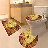 3 Piece large Contour Mat set Old Style Rose Bouqet with Vivid Season Colors Lift Spirit Symbo Artsy Work Extralon Bathroom Rugs Contour Mat Lid Toilet Cover
