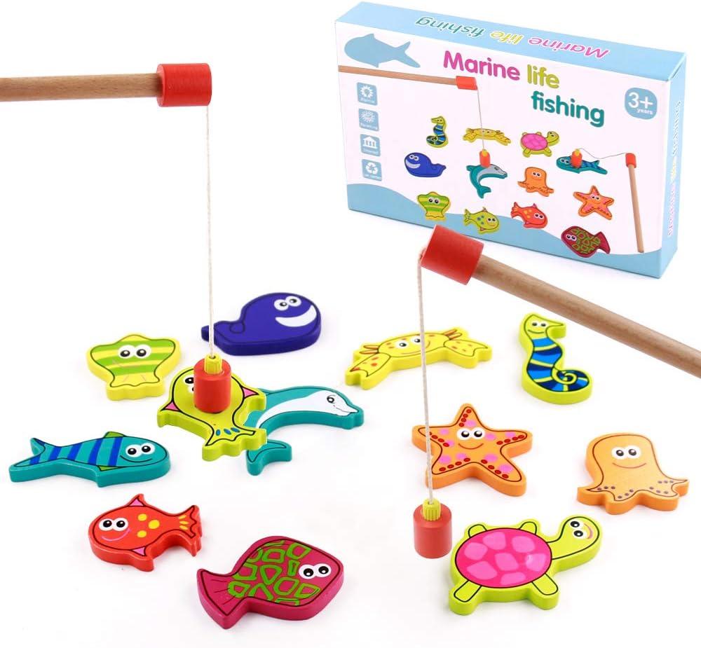 TONZE Juguetes de Madera Niños Juego Pescar Peces Magneticos 15 Peces Juegos de Mesa para Niños de 3 4 5 6+ Años,Juguetes Montessori Juegos Educativos Regalos para Niños y Niñas