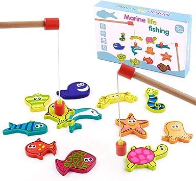 TONZE Juguetes de Madera Niños Juego Pescar Peces Magneticos 15 Peces Juegos de Mesa para Niños de 3 4 5 6+ Años,Juguetes Montessori Juegos Educativos Regalos para Niños y Niñas: Amazon.es: Juguetes y juegos