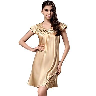 6694648dff31 Women s 100% Mulberry Silk Summer New Dress Sexy Night-Robe Night Gown  Sleepwear Gifts