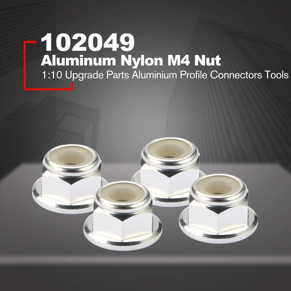 Aluminium Nylon Mutter M4 F/ür 01.10 Upgrade-Teile Aluminiumprofilverbinder Werkzeuge 02190 leoboone 4Pcs M4 RC HSP 102049