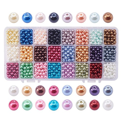 (PandaHall Elite 1440pcs 6mm Tiny Satin Luster Glass Pearl Bead Round Loose Beads for Jewelry Making 24 Colors)
