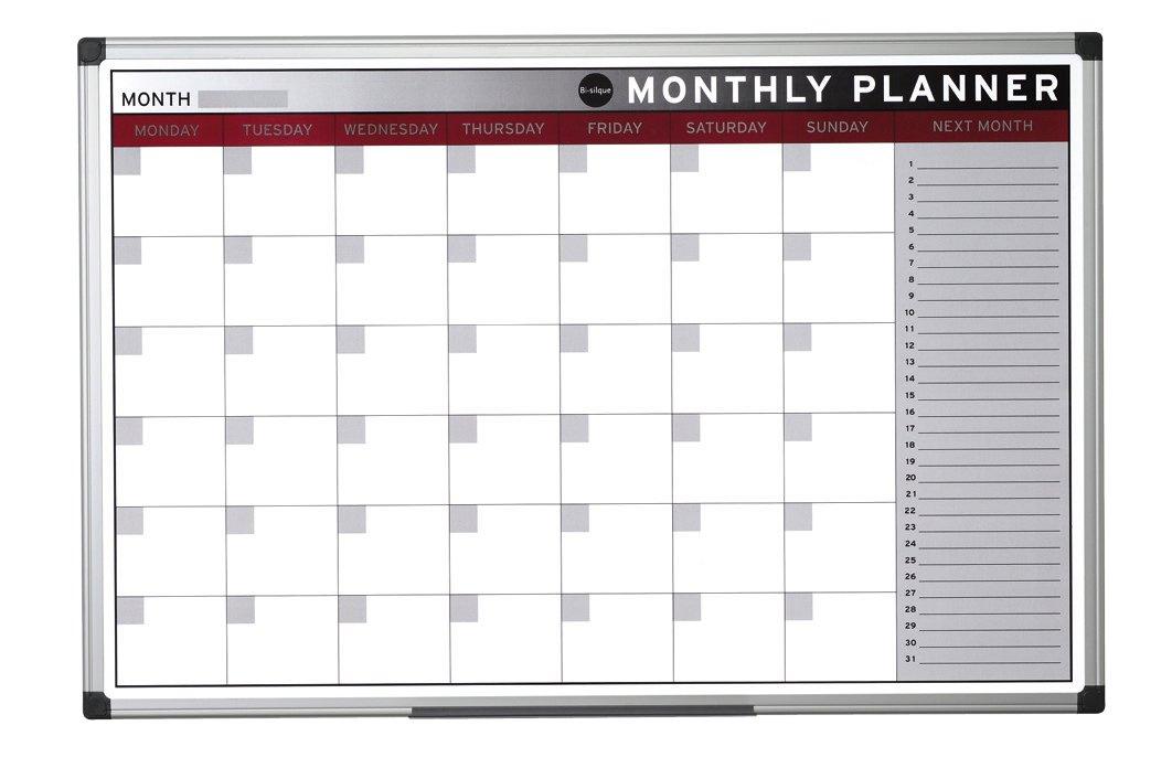 90 x 60 cm Planning Mensual Bi-Office Earth Pizarra de Planificaci/ón Magn/ética con Marco de Aluminio