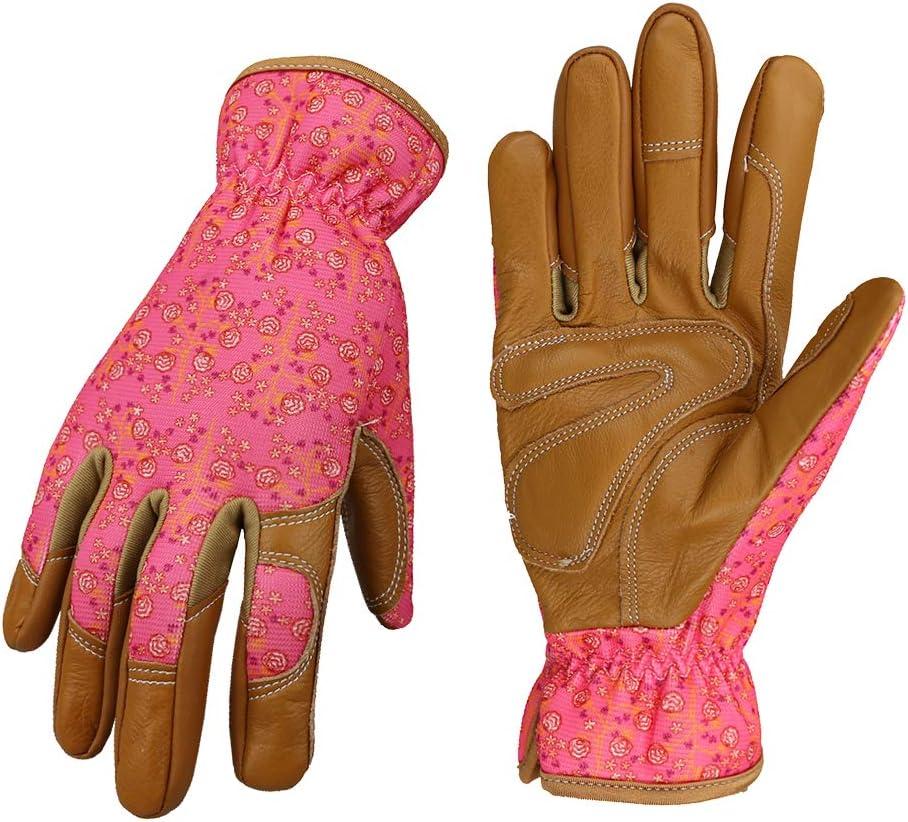 Leather Working Gloves for Women Gardener Planting,Restoration Work,Durable Protective Gardening Gloves, (Pink)