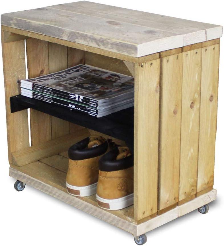 50 x 30 x 50 cm Vintage Weinkiste//Apfelkiste Beistelltisch aus massivem Holz Stylingathome.de Obstkisten Nachttisch Holz mit Rollen LxBxH | Montiert geliefert