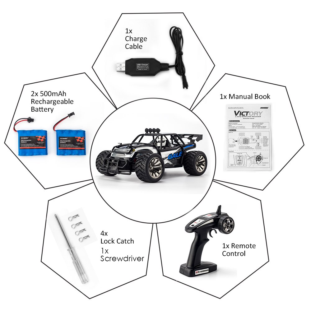 RC Cars KOOWHEEL 1:16 Scale 2WD Off Road Remote Control Cars with 2 Rechargeable Battery 2.4GHz Radio Remote Control Truck Monster High Speed Crawler USB Charger RC Car for Adults and Kids(Blue) by KOOWHEEL (Image #9)