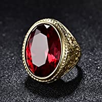 Promsup Sapphire Emerald Ruby 18K Gold Filled Mens Stainless Steel Rings [ Red ] (11)
