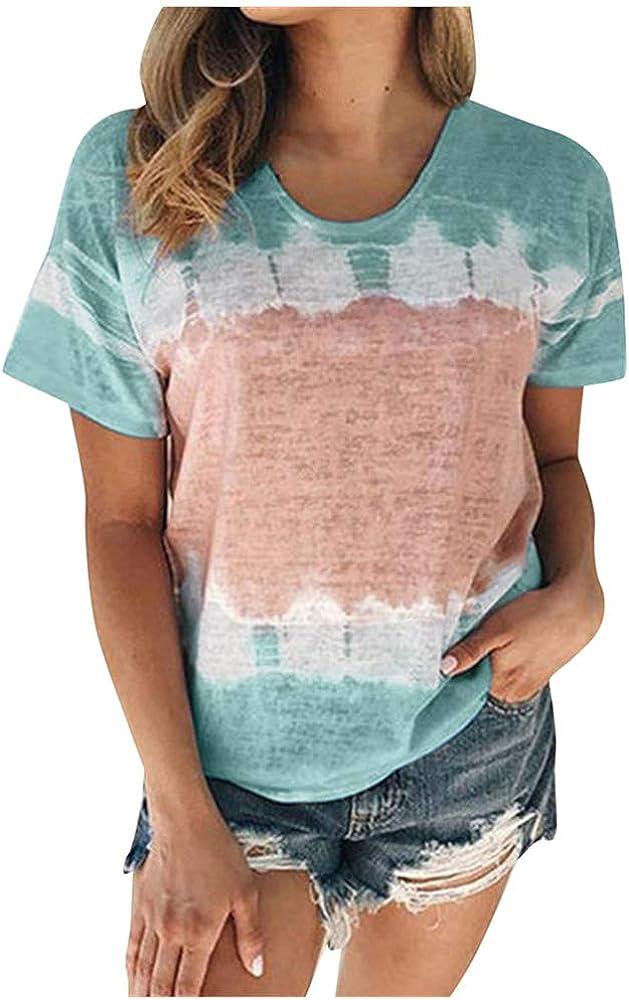 Aniywn Plus Size T-Shirt,Women Summer Casual O-Neck Short Sleeve Printing Patchwork Tunic Tops Basic Shirts