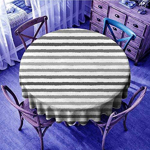 (ScottDecor Striped Picnic Cloth Gray and White Stripes Monochrome Tone Brush Style Lines Grunge Retro Digital Print Beach Round Tablecloth White Grey Diameter 36