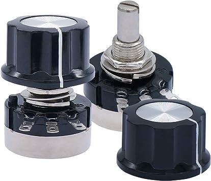 HONJIE RV24YN20S B101 100 Ohm Single Turn Carbon Film Rotary Taper Potentiometer with Knob for Inverter Speed Regulation-2pcs