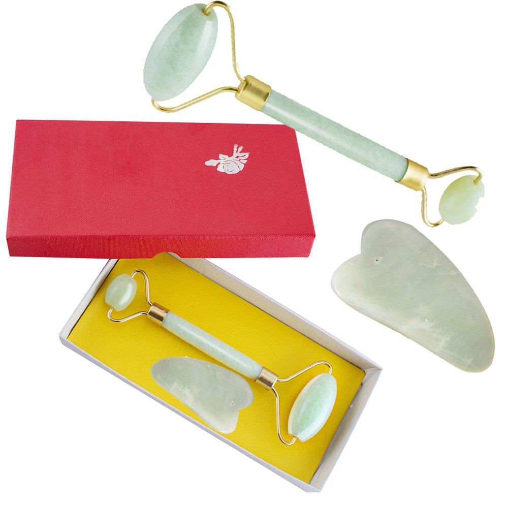 Jade Roller and Gua Sha Set for Face and Body-Anti-Aging Facial Massager to Rejuvenate Skin- Free Gift Box