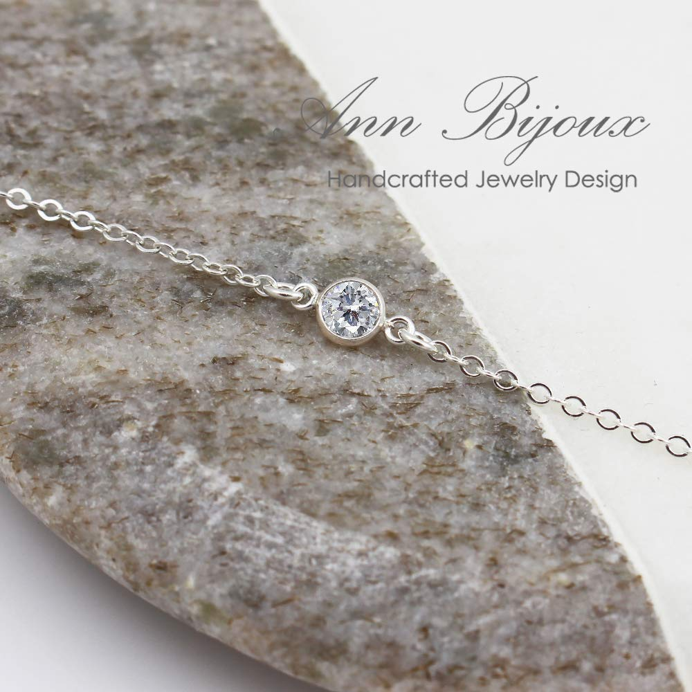 Sterling Silver Crystal Bracelet Dainty CZ Cubic Zirconia Bezel Crystal Stone bridesmaid Gift for Her